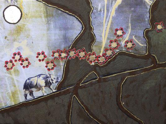 """""""Stairway to heaven"""", 40 x 30 cm, Druck auf Leinwand, Eisenrost, Dekorgold, 280 €"""