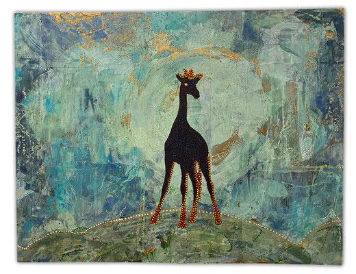 """Twiga"", 50 x 39 cm, Dekorgold, Acrylfarbe auf Holz, 600 €"