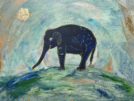 """Elefant"", 40 x 30 cm, Dekorgold, Acryl auf Malpappe, 400 €"