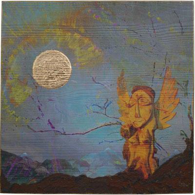Hallo Sonne, Unikat, 40 x 40 cm, Druck auf Holz, bearbeitet mit Buntstiften, Eisenrost und Dekorgold
