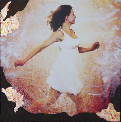 """""""Karina rennt V2"""", 60 x 60 cm, Druck auf Leinwand, Acrylfarbe, Eisenrost, Schlagmetall Kupfer, 750 €"""
