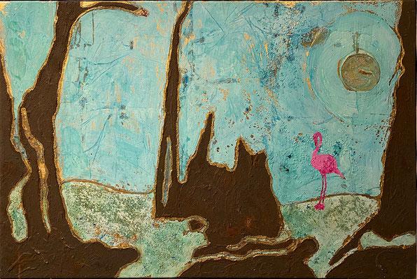 """""""Magnetklippen"""", 75 x 50 cm, Dekorgold, Eisenrost und Acrylfarbe auf Leinwand, 800 €"""