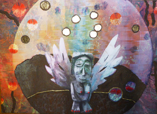 Frau im Mond, Unikat, 40 x 40 cm, Druck auf Leinwand, bearbeitet mit Eisenrost und Dekorgold
