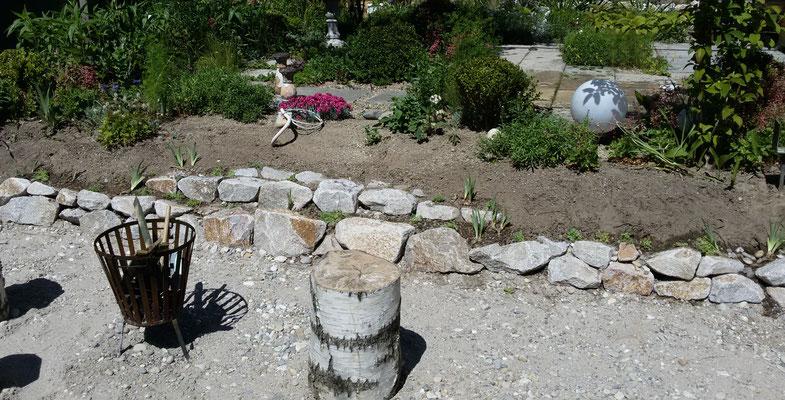 Steinreihen als Stufen - nur ein Provisorium bis zur Endlösung
