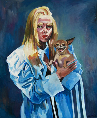 Self-portrait with the dog in sun ray, oil on canvas, 120x100cm, 2021