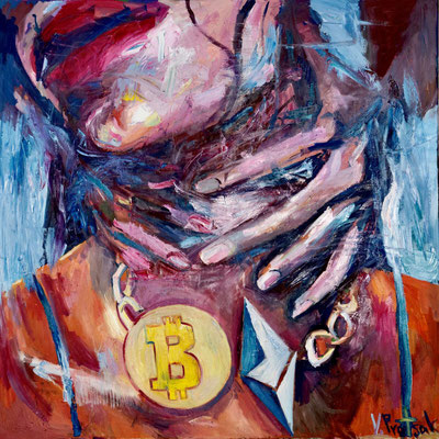 Passion, oil on canvas 120 x 120 cm