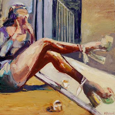 Coffee caramel, oil on canvas, 120 x 120 cm