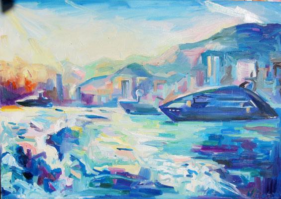 Yacht on sea, oil on canvas, 60 x 80 cm, 2015
