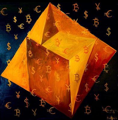 Crypto rubiks cube, oil on canvas 120 x 120 cm