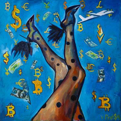 Jackpot, oil on canvas 120 x 120 cm