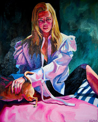 Portrait with the dog, oil on canvas, 162 x 130 cm, 2021