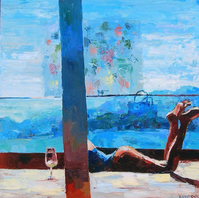 Chillout, oil on canvas 100 x 100 cm 2017