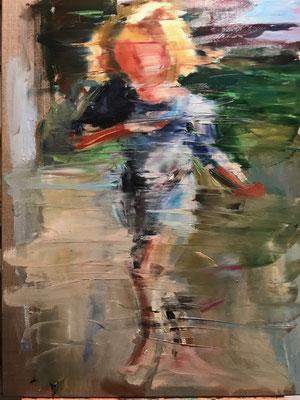 Running girl, oil on canvas, 80 x 60 cm