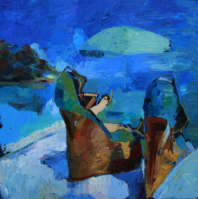 Italian shoes in French Riviera, oil on canvas, 100 x 100 cm, 2017