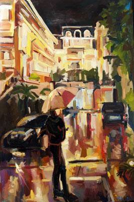 Metropole by rain, oil on canvas, 150 x 100 cm, 2014