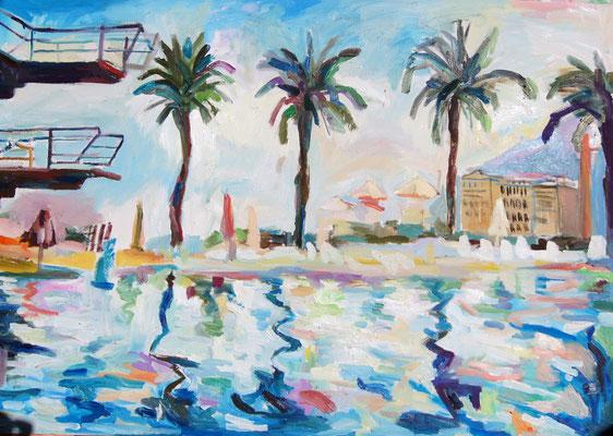 Beach Club, oil on canvas, 80 x 120 cm, 2015