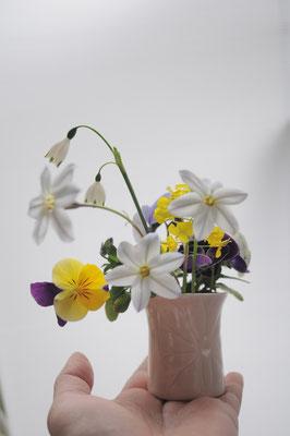 蓮模様のちいさな花器 楊枝入れにも丁度良い大きさです