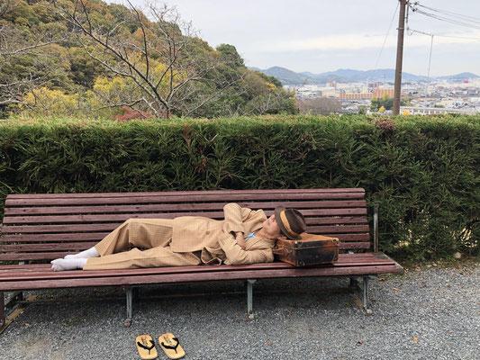 龍野 聚遠亭(しゅうえんてい)で昼寝の寅次郎