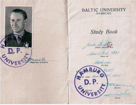 Baltijas Universitātes Hamburgā studiju grāmatiņa, 1947.gads