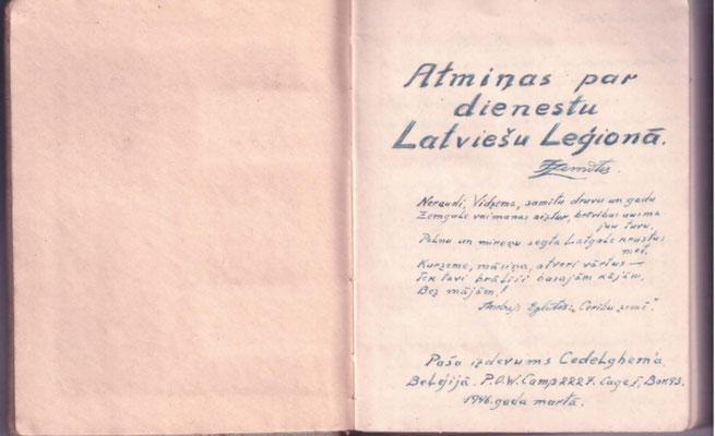 Titelseite des handschriftlichen Büchleins von 1946