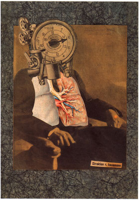 Raoul HAUSMANN – Autoportrait du Dadasophe, 1920, Photomontage et collage sur papier Japon, 36.2 x 28, collection particulière.