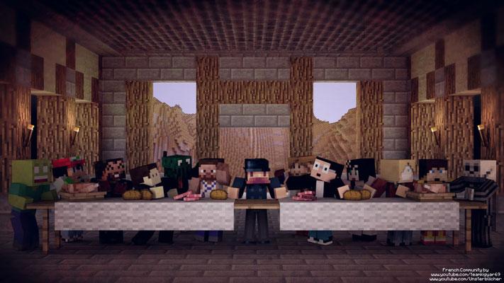 La Cène représentée par des joueurs de Minecraft.