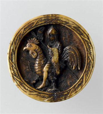 Pion de trictrac : chevalier chevauchant un coq Credit:  Photo (C) RMN-Grand Palais (musée de Cluny - musée national du Moyen-Âge) / Jean-Gilles Berizzi