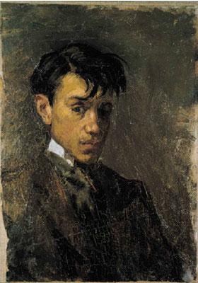 Autoportrait, huile sur toile, 32x23 cm, 1896, Musée Picasso de Barcelone.