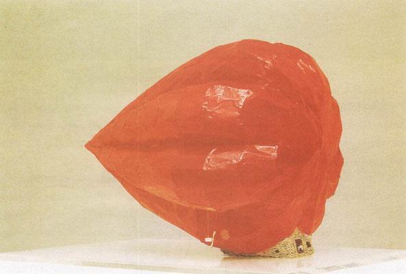Papavore, bois, papier, osier, 63x90x60 cm, 1980.