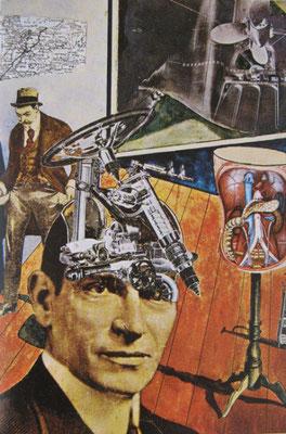 Raoul Hausmann, Tatlin lebt zu Hause [Tatline chez lui], 1920. Photomontage et aquarelle, 41 x 28 cm, Stockholm, Moderna Museet.