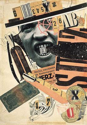 Raoul Haussman, ABCD, 1923/1924, encre de Chine, reproduction de photographie et imprimés découpés, collés sur papier, 40,4 x 28,2 cm Centre Pompidou-Musée national d'art moderne, Paris.