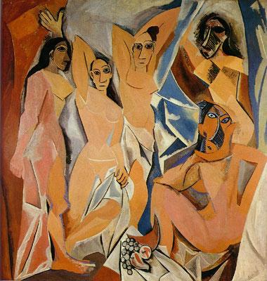 Demoiselles d'Avignon, huile sur toile, 243,9 × 233,71 cm, 1907, Museum of Modern Art, New York.