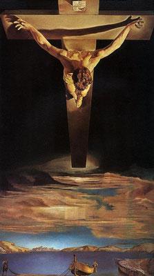 Salvador Dali, Christ de saint Jean de la Croix, huile sur toile, 205x116cm, 1951, The Glasgox Art Gallery.