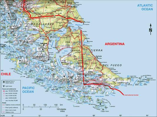 Karte von Feuerland.