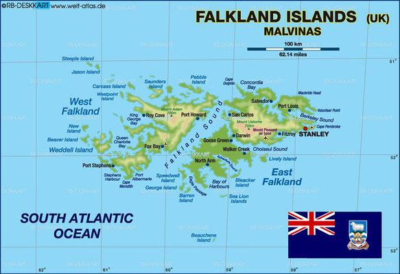 Karte der Falklandinseln.