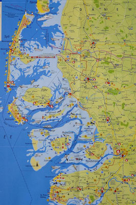 Karte von Nordfriesland und den Nordfriesischen Inseln