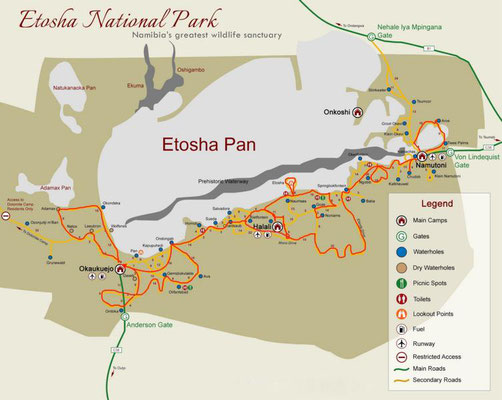 Karte vom Etosha-Nationalpark.