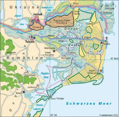 In Rumänien weitet sich die Donaumündung zu einem riesigen Flussdelta. 5000 Quadratkilometer Auwälder, Seitenarme, Seen, Europas größte Schilfrohrgebiete und eine vielseitige Tierwelt.