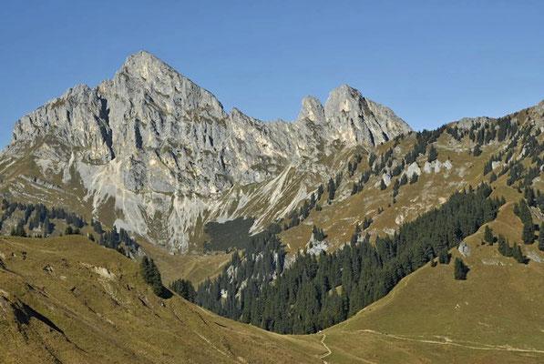 Blick vom Hahnenkamm bei Reutte auf die Tannheimer Gruppe / Österreich