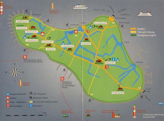 Karte der Hallig Hooge