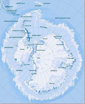 Karte der Antarktis.