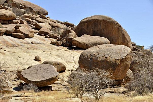 Die Formationen der Bull's Party sind ein Ergebnis von Millionen von Jahren andauernden Verwitterungsprozessen.