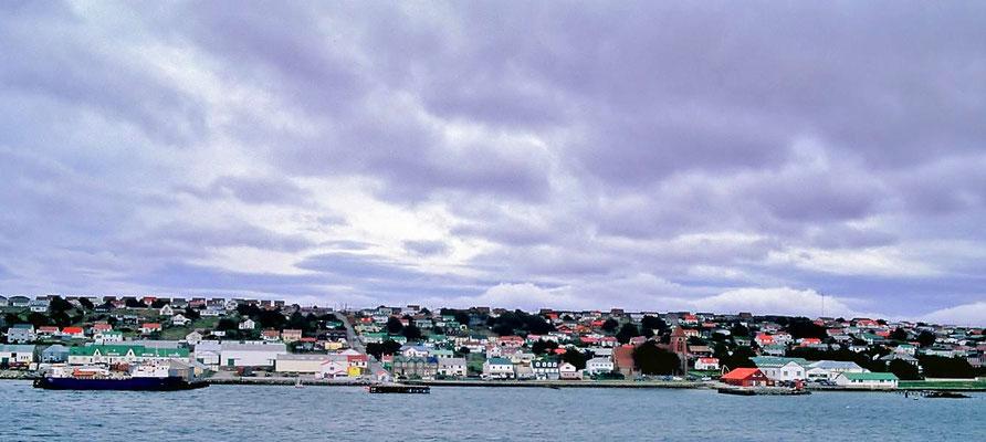 Stanley, die Hauptstadt oder der Hauptort auf den Falklands.