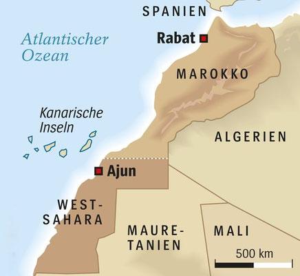 Karte von Marokko und der Westsahara