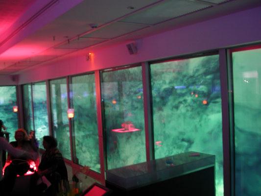 La soirée a démarrée ... le décor vidéo prend toute sa splendeur... il vient habiller toutes les baies vitrées du Restaurant...