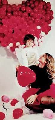 cuore palloncini san valentino allestimento ragazza servizio fotografico bambino angelo