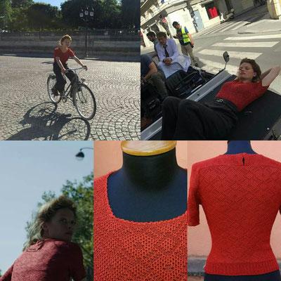 """Sweater for Mélanie Thierry, film """"La douleur"""", directed by Emmanuel Finkiel, costume designer Anaïs Romand"""