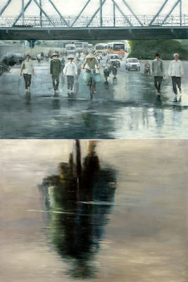 Achieving the goal (Diptych, 120 x 160 cm each, oil on canvas, 2007) – sold
