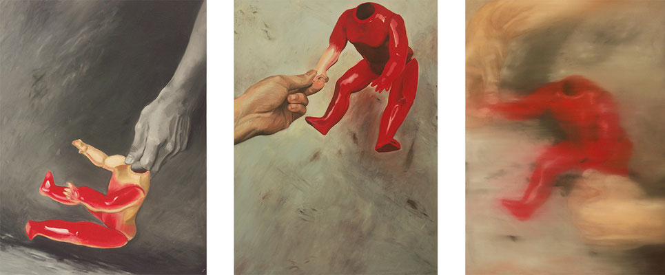 Playing with a doll (Triptych, 160 x 120 cm, oil on canvas, 2006) – sold