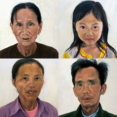 We are looking at city people (Quadriptych, 100 x 100 cm each, oil on canvas, 2006) – sold